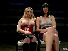 Busty Aiden Starr punishes Bobbi Starr with a strap-on