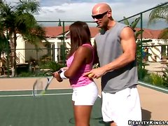 Sexy and naughty tennis player fucks her couch