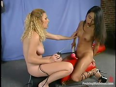Blonde and brunette chicks get toyed deep by machines
