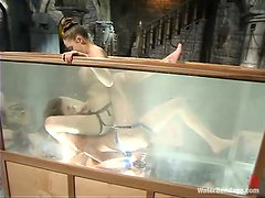Hot Audrey Leigh gets watered and toyed with a strap-on