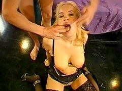 Stunning blonde being fully covered with sperm