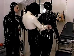 Cute chick with chained hands being humiliated