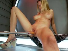 Hot Rain DeGrey gets toyed by a machine in her wet pussy