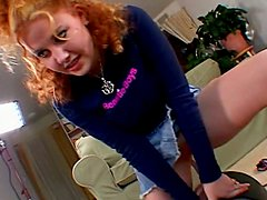 Redhead hussy shows her cock-sucking and grinding skills