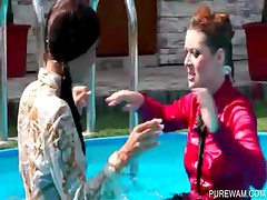 WAM scene with lesbos getting wet