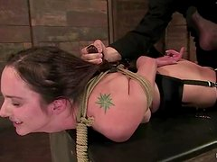 Hogtie pleasures for a sassy sex slave Winter Sky