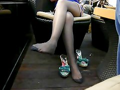Candid Asian Feet in Nylons at Coffee Shop