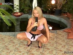 Hot And Naughty Blonde Teen Girl Masturbates with Big Black Dildo
