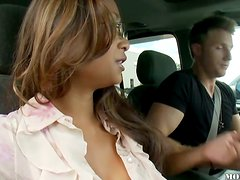 Pretty Asian babe in pink lingerie gets fucked in a car