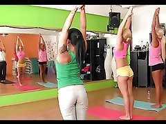 Horny teens are fucks in a foursome after yoga class
