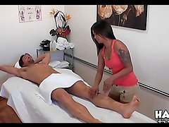 Hot Asian masseuse rides a guy's big cock