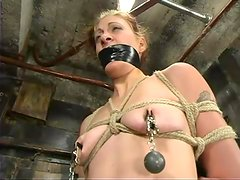 Tied up Carly gets spanked and clothespinned by her master