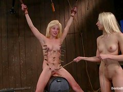 Kinky blond angels start with a 69 inside the cage