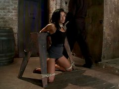 Gagged and bound Skin Diamond gets toyed with a vibrator