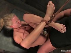 Luscious blondie love eating Mark's balls in a bondage