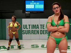 Penny and Yasmine fight on tatami and fuck in the locker room