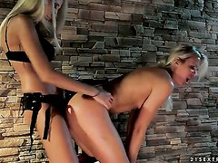 Blonde Alina with giant knockers and lesbian Clara G. do