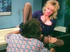 Cute blondie with natural C cups gets her hary snatch licked