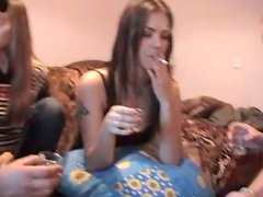 Cute amater Russian teens get fucked by cocky guys at house