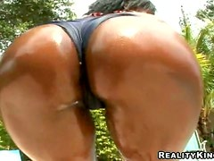 Ebony with Great Butt Tastes and Fucks a White Cock Outdoors