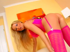 Smoking hot Diana Doll is in pink lingerie