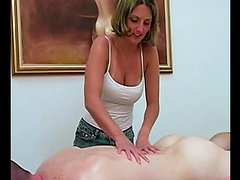 Busty blonde pleases her horny BF with massage and a handjob