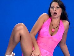 Zafira is banging her shaved puss with dildo
