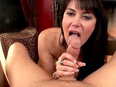 Buxom brunette pornstar Eva Karera sucks in the POV action