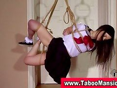 Watch this sexy brunette teen getting bound
