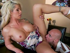 Juggy blonde whore enjoys pussy eating by one bald headed guy