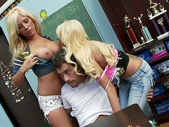 Hot threesome scene with two voluptuous blond student girls