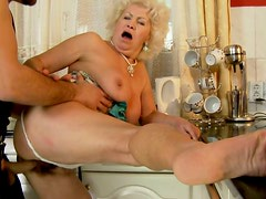 Blonde grannie likes it deeper and and harder with young dude