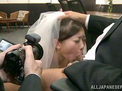 Virgin Japanese Bride Cannot Wait Anymore And Sucks Dick On The Altar!