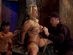 Oiled up Holly Halston gets tied up and toyed deep