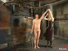 Scott Lee enjoys being punished by wicked blonde mom in a basement