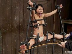 Slim Asian girl gets her vagina toyed and feet whipped