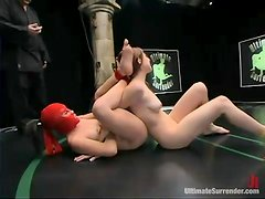 Crimson Ninja fights with a cute chick on tatami and fucks her brutally