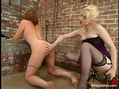 Salacious chick gets spanked and fucked with a strapon in BDSM video