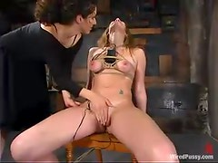 Jade Marxxx gets pulled by the nipples after riding a fucking machine