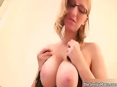 Blonde nerd babe with glasses showing part3