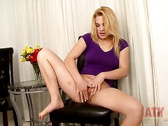 Blonde oriental is curious about stripping on camera