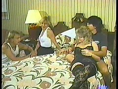 Retro video with kinky two swinger couples fucking in a bedroom