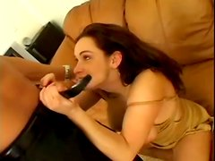 Chubby angel works with her mouth and then gets dicked
