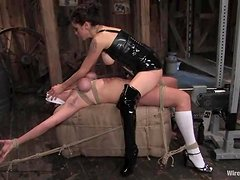 Saffron gets tied up and fucked by a fucking machine