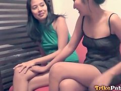 Shy Asian girls blow him together