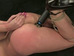 Spreader bar and a nice hogtie for a petite hun Sarah Blake