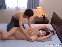 Horny asian MILF with natural tits in a rough fuck with a dildo.