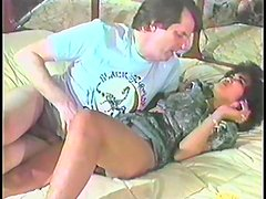 Retro girl gets her ass fucked in a sideways position