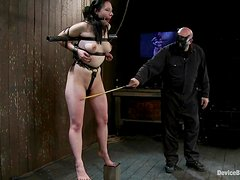 Brunette slut gets tortured with clothespins and straps
