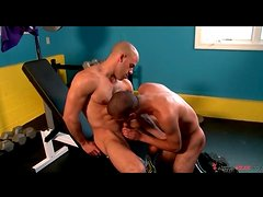 Sexy guys in the gym suck hard dick